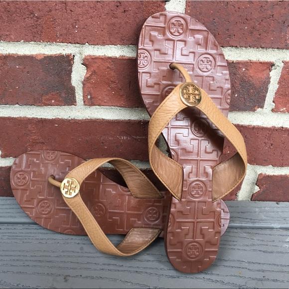 68a71ffe675 Tory Burch Thora Tumbled Leather Sandal in Tan. M 5ade585d2ae12fdb8519053f